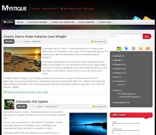 Mystique - WordPress theme